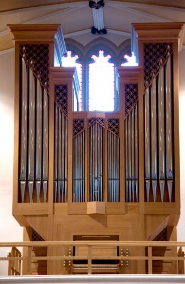 The Škrabl organ built in 2009 for St Patrick's Church, Huddersfield, West Yorkshire.