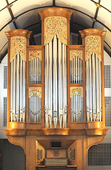 Gilded glory: The three-manual, mechanical action organ by Skrabl in the church of St Michael the Archangel, Lyme Regis, West Dorset.