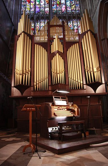 The Conacher organ, originally from Yorkshire, rebuilt by Skrabl in Bruges Cathedral, Belgium.